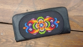 Leather embroidery Wallets made of genuine leather  Hand embroidery cross