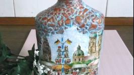 Декоративная интерьерная бутылка Мюнхен декупаж