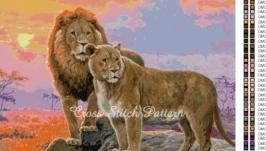 Схема вышивки крестиком Львы на закате