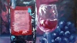 Натюрморт с бутылкой вина, бокалом и виноградом