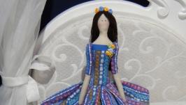 Кукла Тильда в синем платье 48см