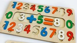 Пазл-сортер ′Цифры′, развивашки, учим цифры, деревянные пазлы