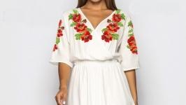 Платье вышитое женское - Маки