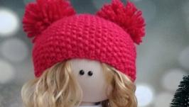 Кукла интерьерная текстильная тильда ′Девочка в красном′ ручной работы
