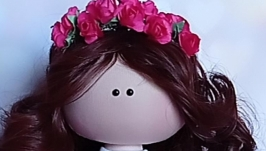 Кукла интерьерная текстильная тильда ′Девочка в веночке′ ручной работы