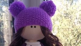 Кукла интерьерная текстильная тильда ′Девочка в сиреневом′ ручной работы