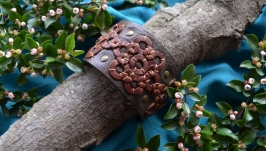 Коричневый кожаный браслет