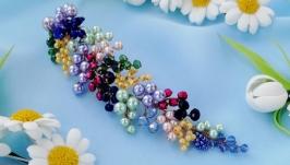 Универсальное украшение для прически, разноцветная веточка из бусин
