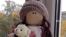 Кукла интерьерная текстильная тильда ′Девочка с медвежонком′ ручной работы