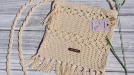Knitted cotton handbag - small shoulder bag - handmade bag