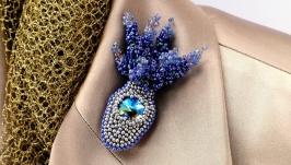 Crystal Lavender Brooch  Purple Brooch  Flower Bouquet Brooch  gift idea