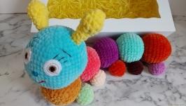 Colorful crochet caterpillar