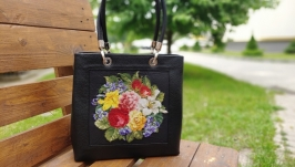 Handbag ′ Romantic ′, genuine leather, hand cross-stitch