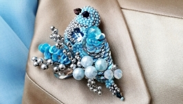 Light blue Bird Brooch pin  Silver-blue brooch pin Unusual brooch pin