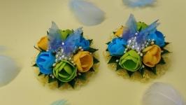 Заколки ′Похрание бабочки′ в сине-жёлтой расцветке