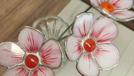 Artificial flower made of glass, pink cosmea