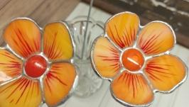 Artificial flower made of glass, orange cosmea