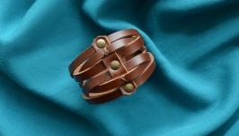 Коричневый кожаный плетеный браслет