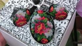Набір кулон та сережки з квітами