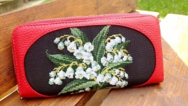 Women′s wallet, leather wallet, red wallet, embroidered wallet