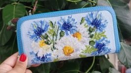 Purse of lilies of the valley genuine leather  hand-stitched cross-stitch