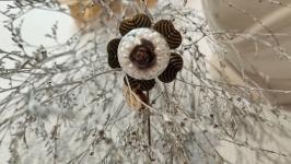Винтажная авторская брошь-игла ′Роза в шаре′