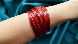 Красный кожаный плетеный браслет