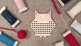 Вышивальная дощечка ′Сова′ Вышивка для начинающих Вышивка для детей