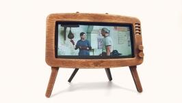 Phone stand ′Retro TV′ (american walnut)