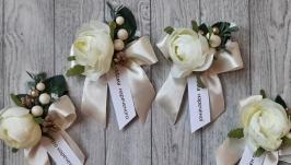 Весільні бутоньєрки з написами . Ціна 1шт
