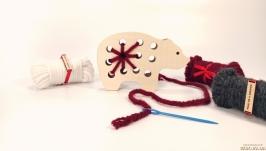 Вязальная дощечка ′Мишка′ Вышивка для начинающих Вышивка для детей