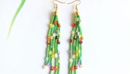 Серьги ромашки из бисера, Подарок девушке, Красивые разноцветные серьги