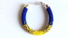 Браслет желто синий Украшения ручной работы из бисера Лучший подарок