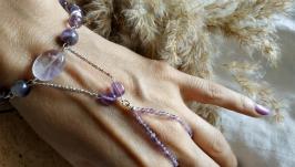 Слейв-браслет серебряный с аметистом ′Виола′