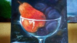 Натюрморт Фрукты в стеклянной вазе. Картина маслом