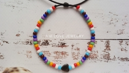 разноцветный браслет из бисера Сердце Натуральный гематит браслет с сердцем