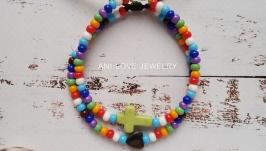 разноцветный браслет из бисера Сердце крест крестик браслет с сердцем набор