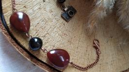 Браслет из натурального сердолика и агата ′Воспоминание′