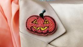 Брошь тыква из бисера на Хэллоуин, яркая осенняя брошь