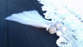 Сережки святкові з натуральними перлами, китицями та срібними застібками