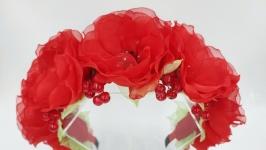 Ободок с красными цветами яркий цветочный обруч