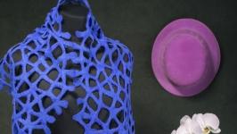 Синий шарф из шерсти мериноса