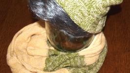 Комплект: Шапка и снуд-шарф оливкового цвета