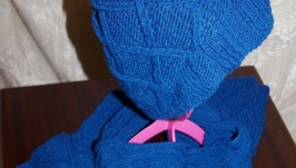 Комплект: Шарф-снуд и шапка синего цвета