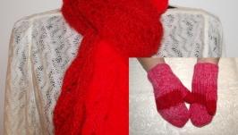 Комплект: Шарф и варежки красного цвета