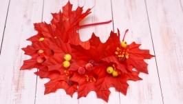 Обруч ободок с осенними листьями