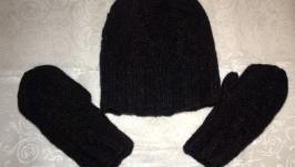 Комплект: Шапка та рукавиці чорного кольору