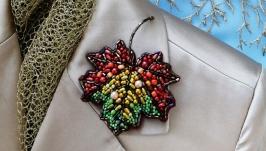 Осенняя брошь «кленовый лист» - ручная работа