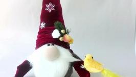 Скандинавский гном. Новогодний подарок. Красный рождественский гном