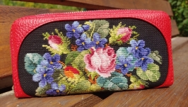 leather, embroidery Wallets made of genuine leather